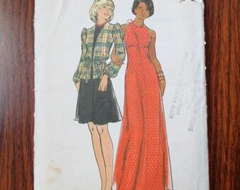 1970s Halter Dress Vintage Pattern, Butterick 3430, Size 9, Bust 32