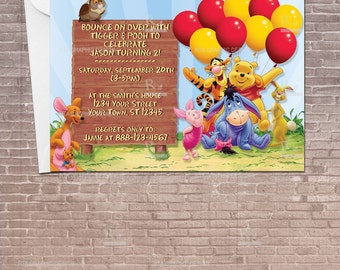 Winnie the Pooh Party Invitation w/ Balloons Download Editable / Birthday Invitation / kids / children / For a boy / For a girl /  PRINTABLE