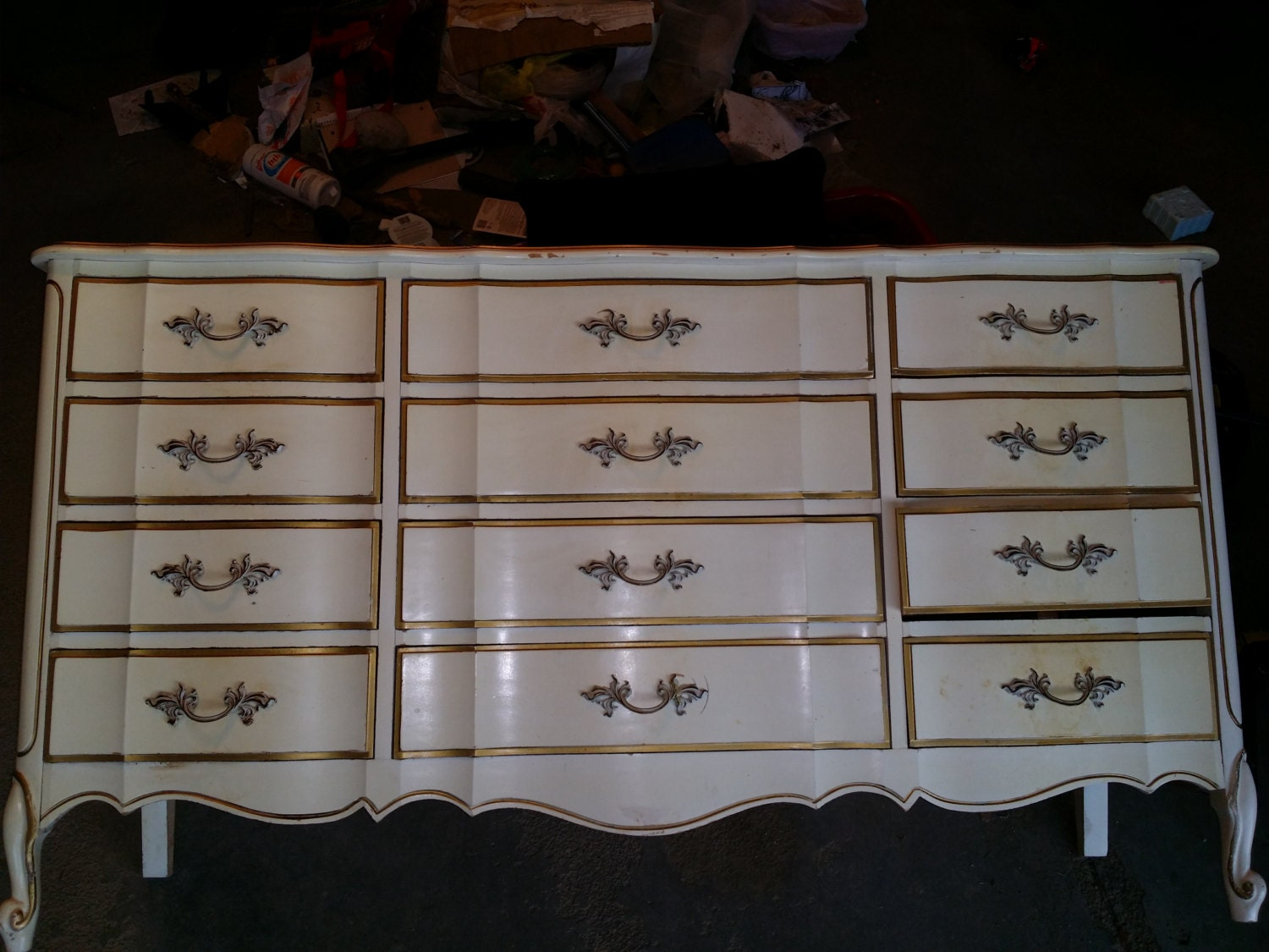 Vintage antique french provincial Dixie furniture dresser chest of 12  drawers armoire bone white cream – more pieces listed - Vintage Antique French Provincial Dixie Furniture Dresser Chest Of