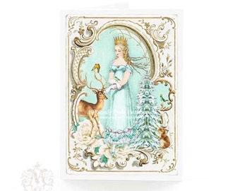 Snow Queen Christmas card with deer, woodland white Christmas traditional holiday card, blank card
