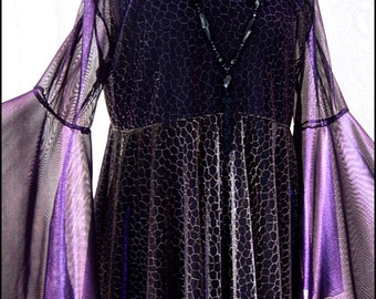 One of a Kind Iridescent Purple, Black and Gold Shadowen Blouse by Kambriel - Brand New & Ready to Ship!