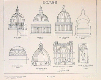Architectural Drawings - Domes - 1906 Vintage Book Plate - American Vignola