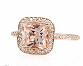 Morganite Engagement Ring Princess Diamond Halo Morganite Ring 14K or 18K Gold or Platinum Custom Bridal Jewelry