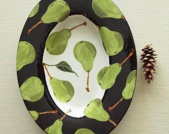 Large Platter Ceramic Platter Wedding Gift Bridal Shower Gift Serving Platter Green Pear XL Oval Rim Platter Black & White Decor Platter P