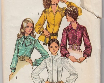 "Vintage Sewing Pattern 1970's Misses Blouses Simplicity 9718 32 1/2"" Bust- Free Pattern Grading E-book Included"
