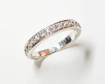 Platinum Half Eternity Ring with Diamonds