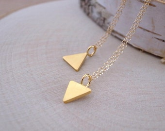 Yellow Gold Triangle Necklace, Gold Triangle Pendant, Gold Vermeil Triangle Charm, 14K Gold Filled Chain, Gold Vermeil Triangle Necklace