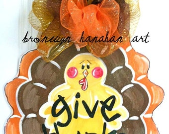 Traditional Thanksgiving Turkey Day Door Hanger - Bronwyn Hanahan Art