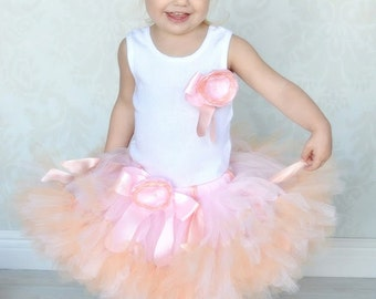 Peach Pink Baby Tutu Dress for Baby Girls 1st Birhday Outfit
