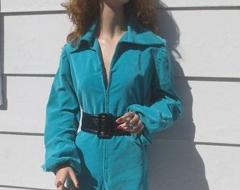 SEXY Vintage 1970's Cosplay Trekkie Sky Blue Velveteen Minnie Shorts Romper Jumpsuit