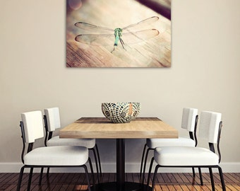 dragonfly art canvas art large wall art bohemian decor gallery canvas nature photogrphy dragonfly print boho decor teal and brown wall art