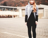 Unique long shrug sweater with geometric overlaying , Cowl neck sweatshirt, open front /B11/