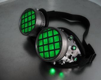 Cyberpunk Regulator Backlit Electronic LED Cyber Goggles - Green or Blue - Burning Man Rave