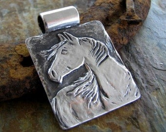 Artisan Horse Jewelry, Breeze, Fine Silver Handcarved Horse Pendant by SilverWishes, PMC Jewelry