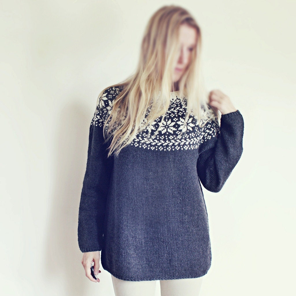Knitting Pattern Beautiful Norwegian Sweater Loose fit