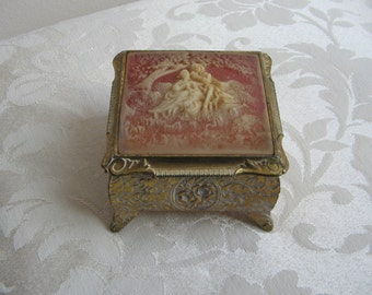 Vintage Ornate Jewelry Box With Cameo of Romantic Courting Couple, Gold Metal & Cream Rose High Relief Celluloid or Faux Ivory