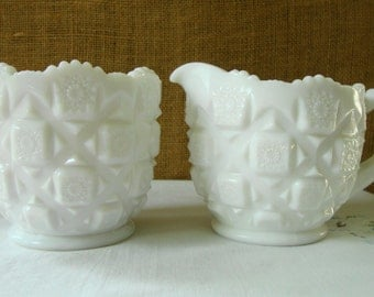WESTMORLAND MILK GLASS Sugar Creamer Set Old Quilt Pattern Westmorland Mid Century White Milk Glass Cottage Chic Wedding Chic Coffee Talk