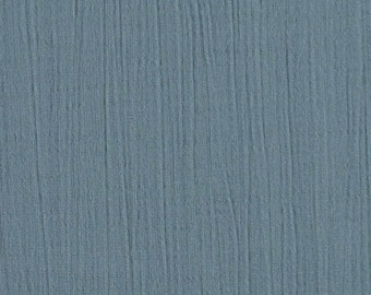 1/2 YARD, CRINKLE CREPE, Glaucous Gull Blue, Fashion or Craft Fabric, Lightweight Cotton Rayon, B9