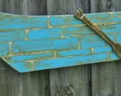 Vintage Style Wooden Row Boat, Lake House Decor, Casual Beach-y Wall Hanging, Fishing Boat