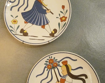 Mid Century West German Folk Art Plates by Waechtersbach - Couple in Traditional Costumes