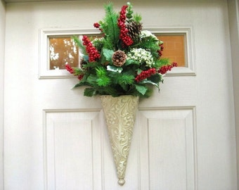 Winter Wreath, Holiday Berry Wreath, Pine Door Wreath, Red Green Wreath, Winter Wreaths, Winter Door Decoration, Christmas Door Hanger