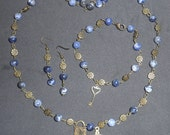 Lapis Lazuli 3 Piece Jewelry Set With Keys- Ships to Canada