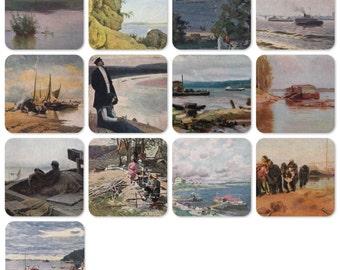Volga River. Set of 13 Vintage Prints, Postcards - 1950s-1980s