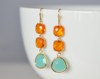 30% SALE, Mint blue and Orange gold earrings, Wedding necklace, Bridal jewelry, Bridesmaid gift, Clip earrings,Orange sapphire earrings,Gift