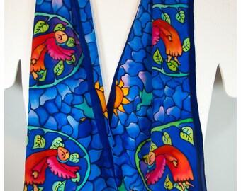 """Handpainted silk scarf~Angel silk scarf~8x52""""~Chagall's Angels scarf~Angel silk scarf~Angel wallhanging~Painted silk scarves~Blue silk scarf"""