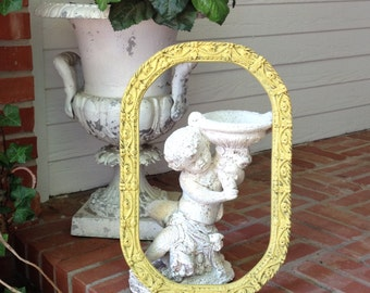OVAL FRAME Shabby Chic Antique Frame holds 10 x 16 Gesso Roses & Swags Wood Frame French Gold Mustard Painted Picture Frame