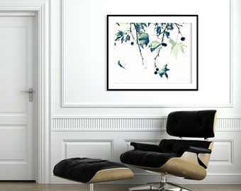 "Large art  ""Zen Tree Print"" - Giclee 40X60 minimalist poster in black and white"