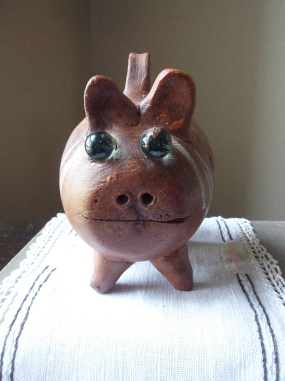 Handmade piggy bank with handle pig coin bank spanish style for Handmade coin bank