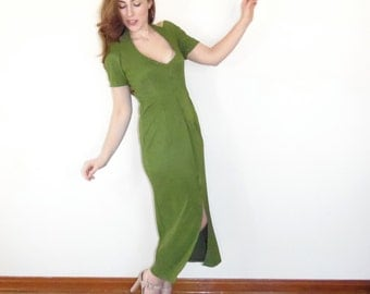 Vintage 90s Maxi Dress - Green Apple Sexy Body-Con Evening Gown Curvy Babe LG