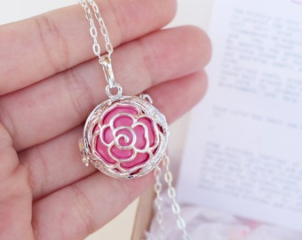 Angel caller ROSE pink Maternity necklace, Pregnancy Harmony ball chime