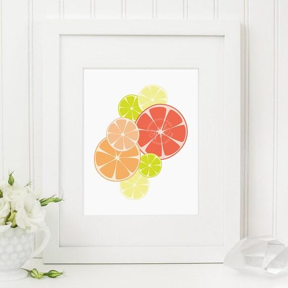 Https Www Etsy Com Listing 193140083 Citrus Kitchen Decor Art Print Orange