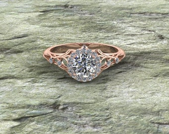 14K Branches Engagement Ring with Halo