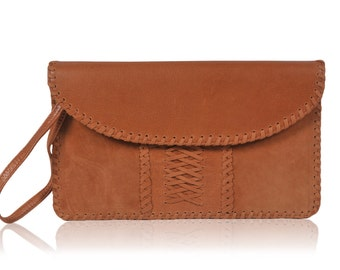 EMBER. Leather clutch purse / brown leather clutch / leather purse / leather wristlet purse / bag. Available in different leather colors.