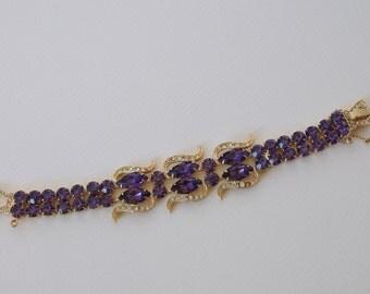 WEISS Purple and Clear Rhinestone Bracelet 1950s Vintage