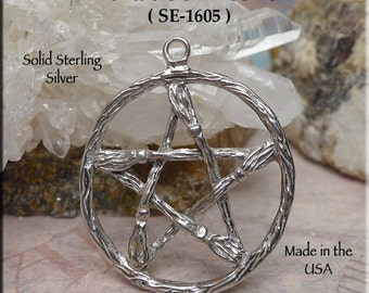 Sterling Silver Large Pentacle of Besoms Pendant, Broom Pentacle Necklace, Broom Pentagram, Wiccan Jewelry, Pagan Jewelry SE-1605