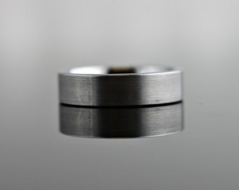 Tungsten Band Classic Pipe Cut in Brushed or High Polish Finish - 6MM