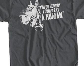 Funny Horse Shirt I'm So Hungry I Could Eat A Human T-Shirt Book Horses Shirt Funny Food School shirt T Shirt Geek Mens Ladies Womens Kids
