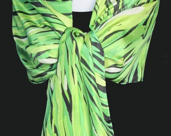 Silk scarf long hand painted - shades of green with white and black