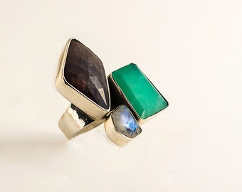 Silver ring - Gem stone ring - colorfull ring - asymmetric ring - Statement ring