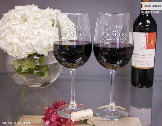 Wedding Gift Personalized Wine Glasses : Personalized Wedding Gift Wine Glasses - (Set of TWO) Custom Engraved ...