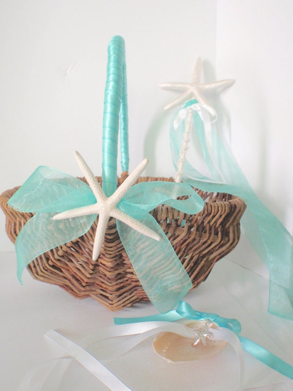 Beach Wedding Flower Girl Basket Flower Girls Starfish Basket