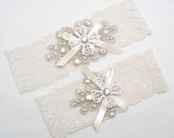 Wedding Garter Set Ivory Lace White Crystal Rhinestone Keepsake