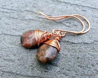 Copper Wire Wrapped Stone Earrings, Nickelite Teardrop Earrings, Dangle Drop Earrings, Minimalist Copper Wrapped Earthy Stone Drop Earrings
