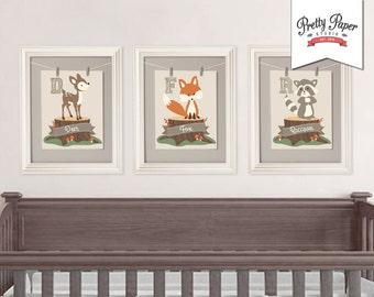 3 Pack Woodland Nursery Wall Art // INSTANT DOWNLOAD // Gender Neutral // Printable Fox Nursery Decor // Digital Artwork BS03 bs01 bs02