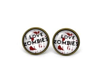 X300- I Love Zombies, Glass Dome Post Earrings