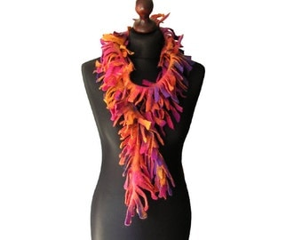 Felted scarf felted collar felted necklace felted boa purple orange pink yellow multicolor felt spring wool scarf boho women's gift OOAK